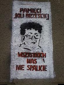 Foto: Graffiti upamiętniające Jolantę Brzeską na kamienicy przy ul. Nabielaka 9/wikipedia.org