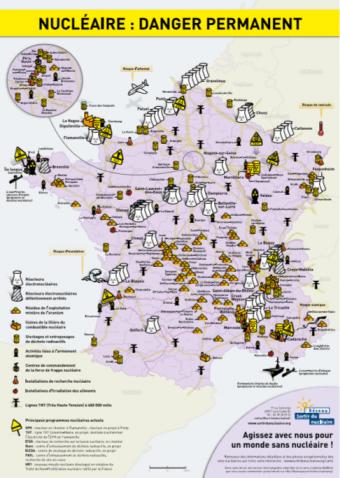Przemysł nuklearny we Francji - mapa